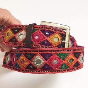 Accessories - Boho Embroidered/Woven Mirrored Belt